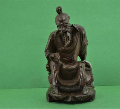 Vintage Chinese carved hardwood Figurine seated sage 15 cm as found
