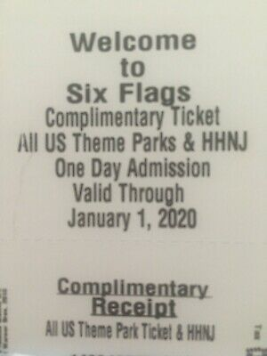 Set of 4 Six Flags day tickets - good for all locations- expires Jan 2020!