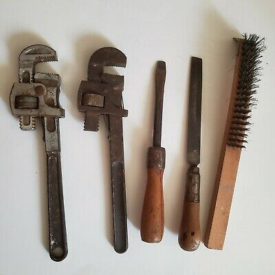 Lot of Five Vintage Tools Wrenches File Screwdriver Brush
