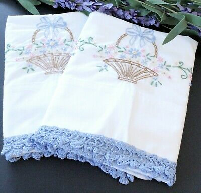 Vintage Embroidered Pillowcases Blue Multicolor Flower Basket Blue Crochet Trim