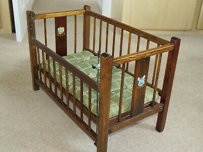 Antique Victorian Doll's Drop-side Wooden Cot with original mattress