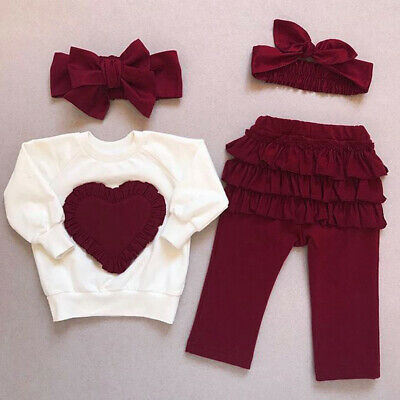3PCS Toddler Kids Baby Girls Clothes Sweatshirt Tops Pants Tracksuit Outfits Set