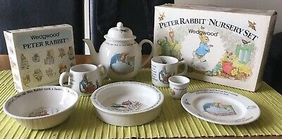 Peter Rabbit Beatrix Potter Vintage Nursery Set By Wedgeood BNIB Tea Pot Bowl