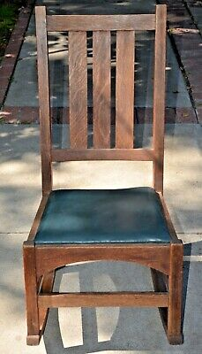 Antique Mission Oak Youth Rocking Chair – Gustav Stickley Rocker Arts and Crafts
