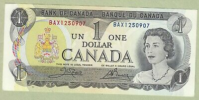 1973 Bank of Canada One Dollar Note - Crow/Bouey - BAX1250907 - UNC