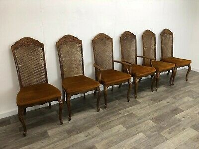 French Provincial Set Of 6 Bergère Cane Dining Chairs Louis XV Style Project
