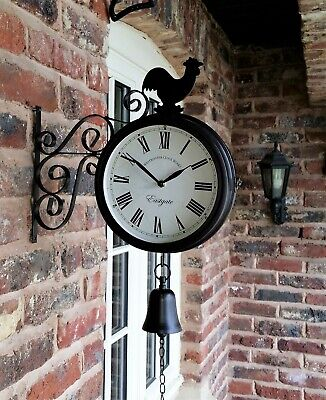 Outdoor Garden wall Station Clock double sided Cockerel and Bell  35cm bracket