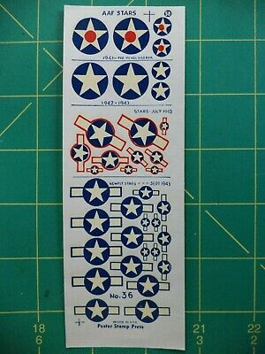 RARE, Vintage WWII era Decals - Air Corps Insignia Set #58 - Poster Stamp Press