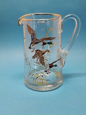 Vintage Country Kitchenalia Style Flying Ducks Decorated Clear Glass Water Jug
