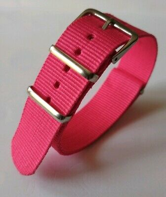 20 mm Nato Strap Correa Reloj Nylon Pulsera Watch band Pink Rosa