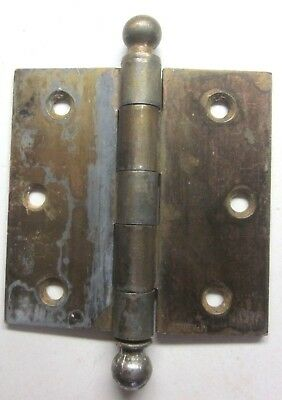 "1 Antique 3-1/2"" McKinney Square Hinge Ball Finials Tips Worn Brass Mortise Door"