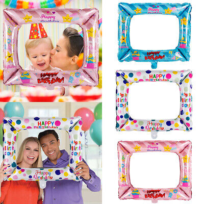Happy Birthday Foil Balloons Photo Frame Photo Props Party Decoration Supplies