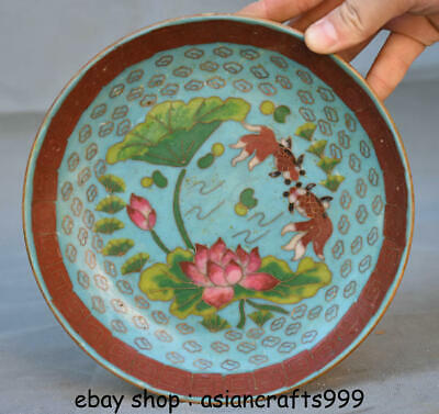 """7,2 """"alte China Kupfer Cloisonne Emaille Palace Lotus Flower Fish Plate Dish"""