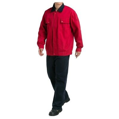 Bright Red with Black Collar Working Protective Gear Uniform Welder Jacket