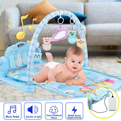 3-in-1 Baby Kick Lay & Play Piano Gym Mat Toddlers Musical Light Fitness Mat