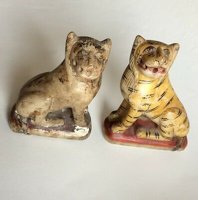 Rare Old Antique pair of painted Marble Tiger  Golden Work Statue Figures