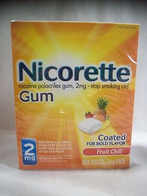 Nicorette Gum 2mg Fruit Chill, 100 pieces Exp. 12/20 ~ FREE SHIPPING!