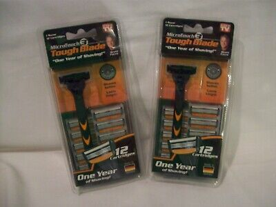 (Lot of 2)  MICRO TOUCH 3 TOUGH BLADE - 24 CARTRIDGES 2 YEARS OF SHAVING -