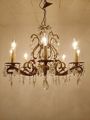 Vintage Ornate Antique 8 Arm 8 Light Glass Prisms Brass Spanish Chandelier