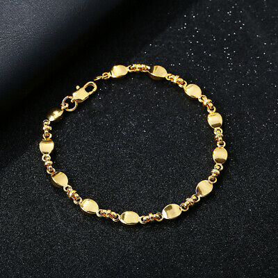 Women 18K Gold Filled Bracelet Wedding Bangle Jewelry Hand Chain Couple Gifts