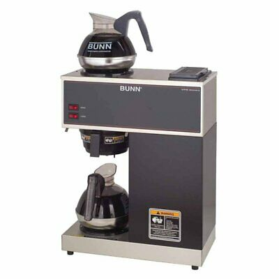 BUNN VPR 12-Cup Commercial Coffee Brewer, 2 Warmers - Black/Stainless Steal