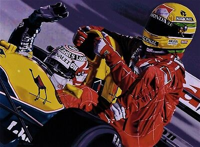 Barry Sheene 90 x 70 cms limited edition motorcycle art print by Colin Carter