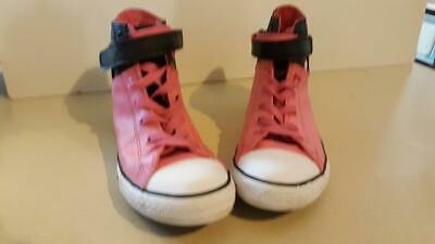 Converse All Star Girls Size 5.5 Junior High Top Tennis Shoes Pink Black Leather