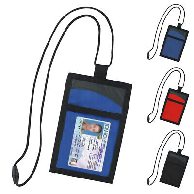 Travel Security Passport ID Holder w/ Neck Strap Transparent Cover Wallet Pouch