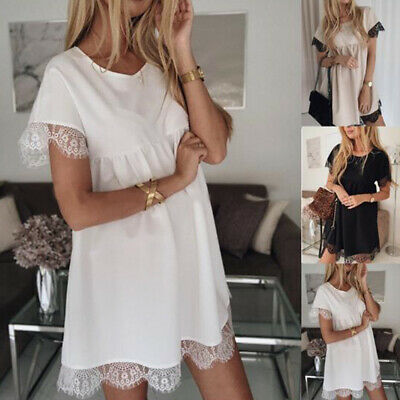 Short Sleeves Elegant Solid Crew Neck Soft Pleated Women Dress Lace Patchwork