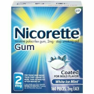 Nicorette Gum 2mg White Ice Mint 160 Pieces Stop Smoking Aid, Exp 08/2020