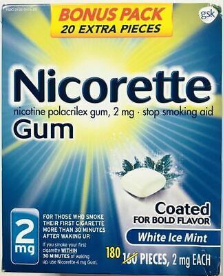 Nicorette Gum 2mg White Ice Mint 180 Pieces Stop Smoking Aid, Exp 08/2021