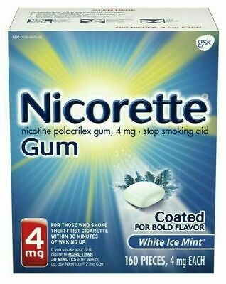 Nicorette Gum 4mg White Ice Mint 160 Pieces Stop Smoking Aid, Exp 02/2021