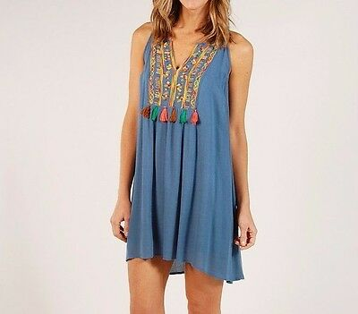 Umgee USA Dress Size S Boho Floral Embroidered Boutique Swing Tunic Top Sky BLUE