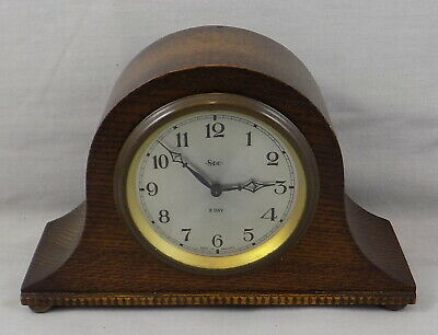 VINTAGE 1940s SMITHS ENGLISH CLOCKS SMALL 8 DAY 'NAPOLEON HAT' CLOCK