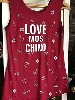 Moschino Top Singlet Red Nautical Ladies Stretch Sleeveless Small Size 10 12 S