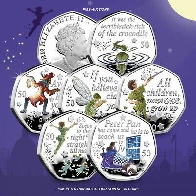 2019 Iom Peter Pan 50P Fifty Pence Unc Colour Decal Coins And Sticker Sets