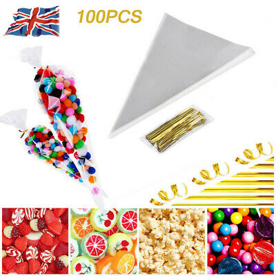 100Pcs Transparent Candy food Bags Flower Triangle Popcor Party Decor Bag New