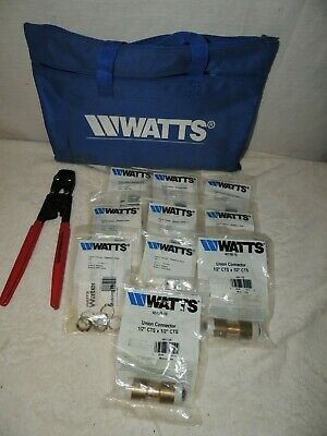 Watts Water Pex Cinch Tool With Bag and Cinch Clamps and Union Connector