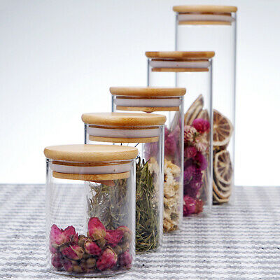 1 pc Glass Jar Clear Food Storage Container with Bamboo Lid for Loose Tea Salt