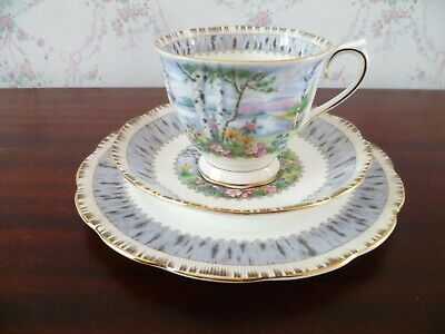 Vintage Royal Albert Silver Birch English China Tea Cup Trio Saucer Plate
