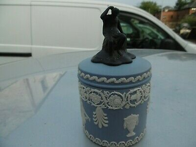 Very Rare Wedgwood Jasper Ware Tri Colour Lidded Pot Dancing Hours  Marked Hb