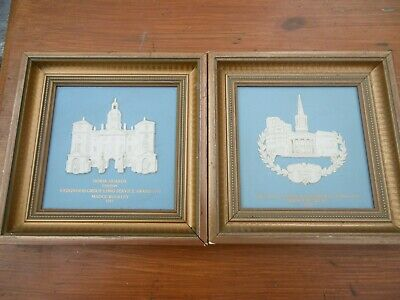 Pair Of Vintage Wedgwood Jasper Plaques For Long Service In The Group