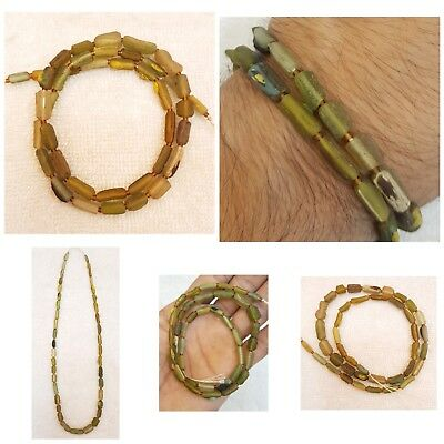 Very Old Glass Wonderful Unique Tube Shape Old Green Glass Beads Necklace # V6