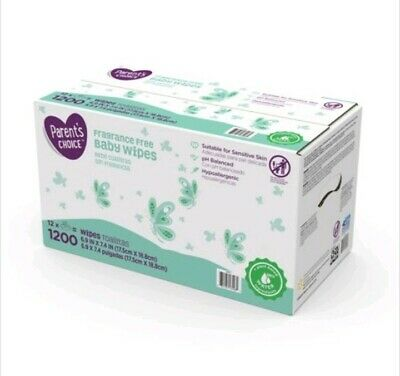 Parent's Choice Fragrance Free Baby Wipes, 12 packs of 100 (1200 count) Box