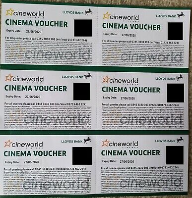 6 x Cineworld Cinema Tickets Expiry Date 27/06/2020