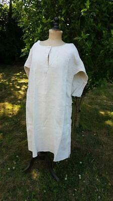 Antique French Rustic Hemp Linen Smock Chemise Nightgown Monogrammed J L
