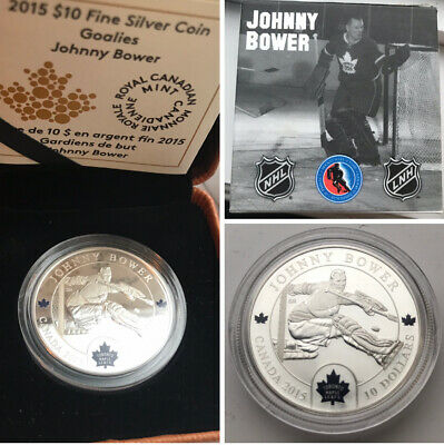 2015 Canada $10 .999 Silver Coin Johnny Bower Toronto Maple Leafs