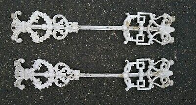 PAIR AMAZING Old Architectural Cast Iron Salvaged METAL FENCE DECOR PIECES WHITE