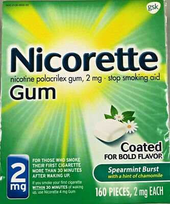 Nicorette Gum 2mg Spearmint Burst 160 Pieces Stop Smoking Aid, Exp 07/2020