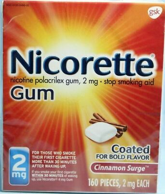 Nicorette Gum 2mg Cinnamon Surge 160 Pieces Stop Smoking Aid Exp 11/2020